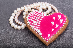 Valentine`s Day, birthday, Women`s Day gingerbread, pearls, gift Stock Images