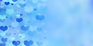 Valentine`s Day blue background with hearts. Valentine`s Day blue background with hearts and sparkles royalty free illustration
