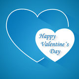 Valentine's day blue vector background with two hearts with shadow Stock Photos
