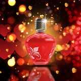 Valentine's Day bokeh lights background with 3D perfume bottle Royalty Free Stock Photos