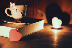 Valentine`s day book coffee Royalty Free Stock Photography