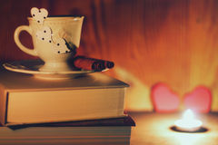 Valentine`s day book coffee Royalty Free Stock Photos