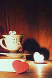 Valentine`s day book coffee Stock Images
