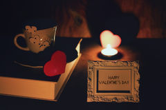 Valentine`s day book coffee Royalty Free Stock Photo