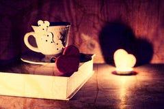 Valentine`s day book coffee Stock Photos