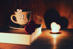 Valentine`s day book coffee Stock Image