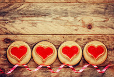 Valentine's Day border cookies Royalty Free Stock Image