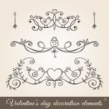 Valentine's day borders and dividers. Valentine's day hand drawn decoration set in vintage style.Borders, page dividers,and ornaments for greeting cards vector illustration