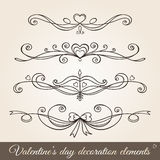 Valentine's day borders and dividers. Valentine's day hand drawn decoration set in vintage style. Borders, page dividers, page decoration and ornaments for stock illustration