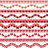 Valentine`s day borders. Set of simple Valentine`s day seamless borders. Can be used as an independent seamless pattern. Vector illustration. EPS 8 royalty free illustration