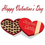 Valentines Day box of chocolate candy white background Stock Photos