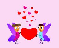 Valentine`s Day. Boy and girl elf. Love cards. Red and pink folded hearts. Vector illustration background Stock Photo