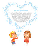 Valentine`s Day. Boy swindled heart from bubbles. The boy swindled heart from bubbles. Advertising brochure for Valentine`s Day. Funny cartoon character. Lorem Stock Image