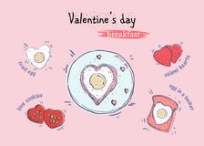 Valentine`s day breakfast top view hand drawn illustration in cartoon style royalty free illustration