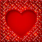 Valentine's Day bright frame with shiny hearts. Valentine's Day bright frame with shiny sequins in the form of hearts on a red  background in disco style Stock Photography
