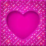 Valentine's Day bright frame. With shiny sequins in the form of hearts on a pink  background in disco style Stock Photos