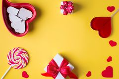 Valentine`s day bright yellow background, greeting card concept, Royalty Free Stock Images
