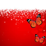 Valentine's day butterflies hearts snow Stock Image
