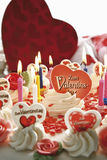 Valentine's day cake with burning candles Royalty Free Stock Images
