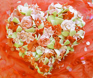 Valentine's day cake with flower ornament Stock Image