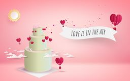 Valentine`s day cake with heart flowers and flying red hearts. Pink background, 3d, Vector illustration. Wallpaper, flyers, invitation, posters, brochure Royalty Free Stock Photo