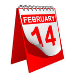 Valentine's Day Calendar. Calendar showing Valentine's Day, 14th February Stock Photos