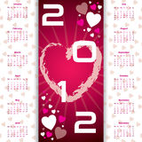Valentine's day calendar. 2012 valentine's day calendar with hearts and burst Royalty Free Stock Photography