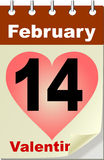 Valentine's Day in calendar. With heart Royalty Free Stock Photo