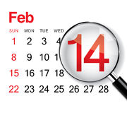 Valentine's day calendar. Black and red Valentine's day calendar royalty free illustration
