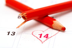 Valentine's Day Calendar and broken pencil Royalty Free Stock Photography
