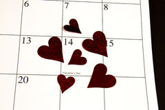 Valentines Day on Calendar Royalty Free Stock Photos