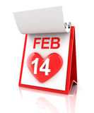 Valentine's day calendar. 3d render Royalty Free Stock Photo