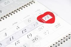 Valentine's Day calendar date. Valentine's Day signed by heart in calendar Royalty Free Stock Photography