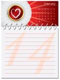 Valentine's day calendar design. Template Royalty Free Stock Photos