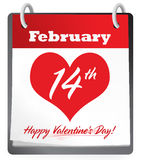 Valentine's Day Calendar. Feb 14th calendar with bright red gradient on a soft white background Royalty Free Stock Photo