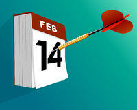 Valentine`s day calendar February 14 with darts. Valentine`s day calendar with darts Royalty Free Stock Photo