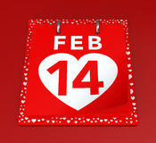 Valentine's Day Calendar. 14 February Calendar on Red Background.  3D image Royalty Free Stock Photography
