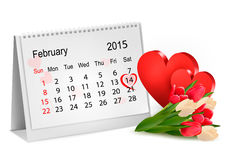 Valentine's Day Calendar. Stock Photos