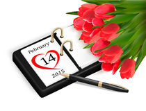 Valentine's Day Calendar. February 14 of Saint Valentines day royalty free illustration