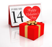 Valentine's Day Calendar and Gift Box Stock Photography