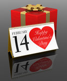 Valentine's Day Calendar and Gift Box Royalty Free Stock Photo