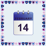 Valentine`s Day, calendar icon in frame of hearts on blue. Royalty Free Stock Photography