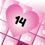 Valentine's Day in calendar Royalty Free Stock Photography