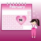 Valentine's Day in calendar Stock Image