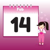 Valentine's Day in calendar Stock Photo