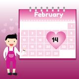 Valentine's Day in calendar Royalty Free Stock Photos