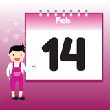 Valentine's Day in calendar Stock Images