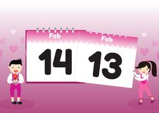 Valentine's Day in calendar Royalty Free Stock Images