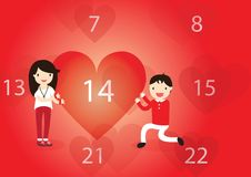 Valentine's Day in calendar Royalty Free Stock Image