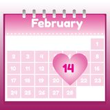 Valentine's Day in calendar Royalty Free Stock Photo